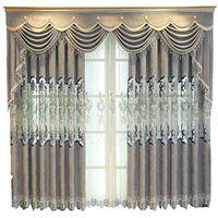 cortinas florais para sala de estar venda por atacado-Grey oco Cortina tapeçaria bordados Europa floral francês cortinas de janela para Sala Tulle Cozinha Bedroo M118 # 4