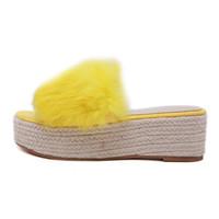 saltos kaki amarelos venda por atacado-2019 Mulheres de pele Cunhas Sandálias Tecelagem Corda aconchegante Slides 6 cm de Salto Alto 4.5 cm Plataforma Nudez amarelo Chinelos vestido de Praia Sapatos Selvagens