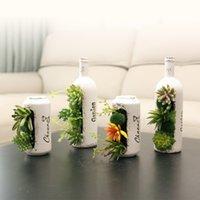 Wholesale artificial flowers bonsai for sale - Group buy Artificial Plants Porcelain Bottle Can Vase Flower Bonsai home ketchen table decoration fake Succulents Flowers vase set