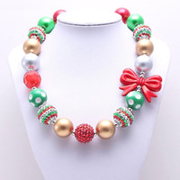 Wholesale plastic beaded necklaces resale online - Resin Christmas Baby Kid Chunky Necklace Best Gift Red Bow Bubble Beaded Chunky Necklaces Girls Hot Jewelry Necklace Gifts
