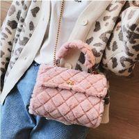 Wholesale korean canvas messenger bags resale online - Korean fashion sweet lady handbag winter new high quality soft plush female designer bag chain shoulder Messenger bag