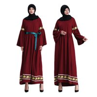 восток модная одежда оптовых-Muslim adult lace embroidery abaya Arab Fashion Turkey Middle East islamic Dresses Musical Robe Ramadan clothing wj675 dropship