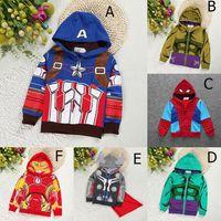 abrigo de niño de moda al por mayor-ropa de diseño para niños niños Superhéroe iron Man Outwear niños Avengers Abrigo con capucha 2019 Primavera Otoño moda Boutique Ropa para bebés C6667