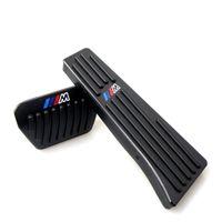 bmw pedalları toptan satış-Hiçbir Matkap Gümüş / Siyah BMW Için Alüminyum Gaz Fren Pedalı 1 3 4 5 6 Serisi X1 X3 X5 X6 M Logo ile Hızlandırıcı ve fren pedalı