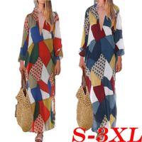 ethnische damen lange kleider großhandel-Frauen lang Maxi Kleid Herbst Langarm Boho Blumen Kaftan Tunika Gypsy-ethnische Art-Kleider beiläufige Damen Vintage-Kleid Vestido