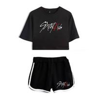 estilo de yoga coreano al por mayor-Conjuntos de verano de estilo coreano KPOP Stray Kids Crop Top + Shorts de manga corta Chándal Mujer Traje de dos piezas