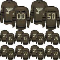 Wholesale salute service ice jerseys resale online - St Louis Blues Jersey Ryan O Reilly Binnington Tarasenko Gretzky Schwartz Authentic Green Salute to Service Hockey Jerseys