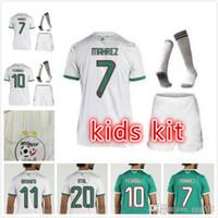 Wholesale soccer jersey team kit white resale online - 2019 Algeria stars Kids kit home white Soccer Jersey Algeria MAHREZ Child Soccer Shirt BELHAJ Boy National Team Football