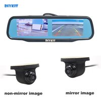 Wholesale front view cameras for cars resale online - DIYKIT inch Rearview Car Mirror Monitor CCD Car Rear View Camera for Rear Front Side View Camera