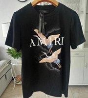 camiseta blanca de calidad al por mayor-la calidad de Hight AMIRI Camisetas de Verano de la grúa de los diseñadores camisetas recto del fuego de la grúa blanca Moda Hombres Mujeres Negro camisetas de algodón del hombre del héroe