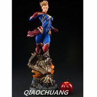 maravilha figuras de ação de super-heróis venda por atacado-Os Vingadores Estátua de Super-heróis Capitão Marvel Busto 1: 2 Ms. Marvel Full-Length Retrato Resina Action Figure Collectible Toy Modelo W252