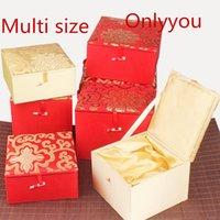 ingrosso scatole decorative gialle-Lusso morbido quadrato giallo rosso gioielli regalo scatola di seta tessuto cinese scatola di legno imballaggio della pietra preziosa collezione scatole decorative Multisize