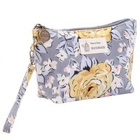 Wholesale small floral canvas prints resale online - 2019 New arrival Lady Printing Small Portable Cosmetic Bag with Zipper Waterproof cloth cosmetics receipt bag B1001