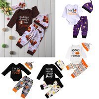Wholesale boys three piece suits for sale - Group buy Infant Baby Cartoon Suit Toddler Boy Halloween Theme Clothes Kids Designer Clothing Boy Letter Pumpkin Turkey T Shirt Pants Hat Suit