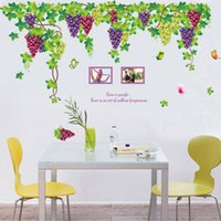 Wholesale home bedroom design photos for sale - Group buy Hot Sale New Purple Flower grape Photo Frame Wall Stickers Home Decor Living Room Leaves Wall Decals
