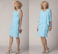 Wholesale mother groom chiffon knee length dresses resale online - 2019 Light Sky Blue Chiffon Sheath Knee Length Mother of the Bride Dresses long Sleeves Scoop Wedding Guest Dresses Groom Party Gowns