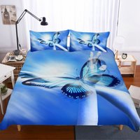 ingrosso biancheria da letto di farfalle-Farfalla stampa 3d Biancheria da letto Set Queen Size Luxury Butterfly Quilt Cover King Bed Set Drop Shipping