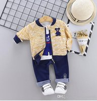 Wholesale baby winter clothes factory resale online - New Best selling Children s Clothing Spring and Autumn Suit Children s Three piece Suit Year old Male Baby Long sleeve Suit Factory