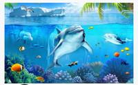 ingrosso carta da parati subacquea per la camera da letto-3d personalizzato foto carta da parati murales carta da parati Underwater World Whale Dolphin Tropical Fish 3D Stereo Camera da letto TV sfondo muro