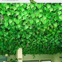 Wholesale climbing wall decor online - 2018 INS hot sale Long Artificial Plants Green Ivy Leaves Artificial Climbing Tiger Grape Vine Fake Foliage Leaves Wedding Home Decor