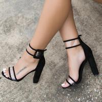 seksi yüksek topuklu tıknaz toptan satış-Yeni Moda Seksi Chunky Topuk Geri Toka Kayış Sivri Burun Bayan ladys Yüksek Topuklar Deri Ayakkabı Sandalet Artı boyutu EUR 34--43 pompaları
