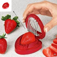 Wholesale strawberry cutter resale online - Newest Hot Strawberry Berry Corer Slicer Cutter Split Fruits Cutting Home Kitchens Tool