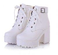 botas de tornozelo branco venda por atacado-Atacado-NOVO QUENTE Womens Punk Chunky Heel Plataforma lace Up Buckle Strap tornozelo Boot Shoes preto branco bege grande quintal