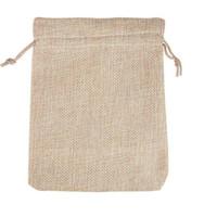 pequenos sacos de presente de cordão venda por atacado-4 Tamanhos de cor original Saco de juta Com Cordão de CasamentoChristmas Embalagem Bolsas Sacos de Presente Pequena Jóia Sachê Mini sacos de Juta