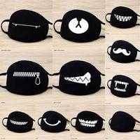 masque noir achat en gros de-1 Pcs Masques de coton Gardez Patten chaud Cartoon Funny Face bouche Masque unisexe Banquet Parti Bouche moufles respirateurs Noir 12 style