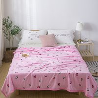 Wholesale korean pink bedding resale online - Pink High quality Thicken plush bedspread blanket x230cm High Density Super Soft Flannel Blanket for the sofa Bed Car