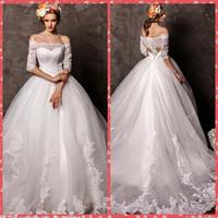 Wholesale online sexy back wedding dresses resale online - Half Sleeves Appliques Lace Wedding Dresses Modest Bridal Gowns Lace Up Back Custom Online