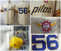 ingrosso presa pullover di baseball-2017 Retro Team Outlet Seattle Pilots 56 Jim Bouton Shirt 1969 Throwback Mens Maglie da baseball Shirt cucita Top Quality S-XXXL