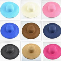 Fashion Women Beatch Straw hats Pure Color Lady Seaside Summer Sun Hat  Outdoor Travel Wide Brim Foldable Hats TTA319 854f36df5841