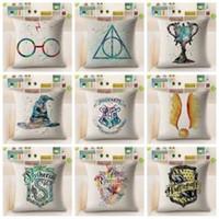 Wholesale printed cushions linen cotton resale online - Harry Potter Pillow Case Cotton Linen Cushion Cover Decorative Pillowcase For Sofa Car Hufflepuff Square Pillow Cases cm GGA1576
