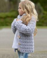 roupa das crianças frete grátis venda por atacado-Cinza Camisola Casaco Crianças Crianças Meninas Do Bebê Outfit Botão Camisola de Malha Cardigan Casaco Roupas frete grátis