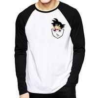 uzun ince sığdırılmış tişörtler toptan satış-Dragon Ball Tişört Uzun Kollu Erkekler Kış Dragon Ball Z Süper Oğlu Goku Slim Fit Cosplay 3D T Shirt Vegeta Tshirt Homme