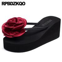 ingrosso flop floreale a sfera alta tacco-fiore cinese flip flop zeppa moda scarpe 2019 donne tacco alto designer 5 in pelle spiaggia pantofole pantofole scivoli sandali 2018