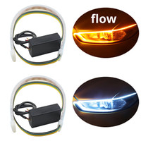 Wholesale drl strips resale online - 2pcs Waterproof Flexible Headlight Led Strip Light Universal Truck Led DRL Daytime Running Light Flowing Turn Signal Lights