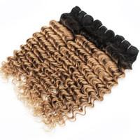 insan saçı kıvırcık ombre paketi toptan satış-3 Paketler Derin Dalga T1B27 Bal Sarışın Ombre Saç Renkli Brezilyalı Kıvırcık Saç Perulu Hint İnsan Saç Örgüleri