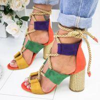 sandalias de punta abierta talón grueso al por mayor-5hot vender! La más nueva moda de verano con tacón alto y punta abierta de color sandalias de encaje de gran tamaño 35-43