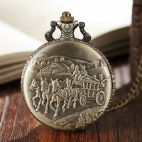 Wholesale mens fob chain for sale - Group buy Ancient Carriage Pocket Watch Fob Chain Necklace Train Horse Engrave Mens Flip Bronze Watch Hour Time Clock for Men Women Gifts