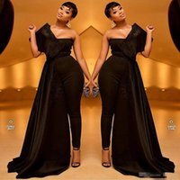 Wholesale beaded jackets women online - 2019 Black Women Prom Jumpsuits With Long Train Appliqued One Shoulder Satin Evening Dress Custom Made Sweep Train Formal Party Gowns
