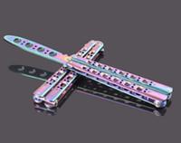 ücretsiz metal kelebekler toptan satış-Gökkuşağı Pratik Metal Kelebek Çelik Trainer Mat Bıçak EDC vites Ücretsiz Kargo