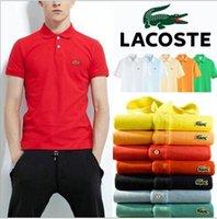 mandalina gömlek erkek toptan satış-2019 Yeni Erkekler Mandarin Yaka Kısa Kollu Pamuk Rahat Polo Gömlek Erkekler Moda Yaz Nefes Polos Erkek Tasarımcı Polo Gömlek