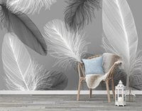 Wholesale feathers home decor for sale - Group buy Custom wallpaper d mural modern nordic feather background wall papers home decor papel de parede d wallpaper