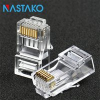 utp rj45 al por mayor-NASTAKO 50 / 100pcs Cat6 RJ45 Cat 6 enchufes modulares Cat6 red Ethernet UTP cristal enchufe del cable RJ45 8P8C
