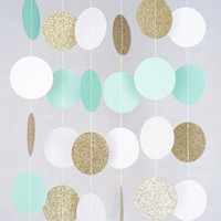 Wholesale mint party decorations resale online - Glitter Gold Mint White Hanging Circle Garlands Decoration Wedding Birthday Baby Shower Events Spring Party Window Home Decor