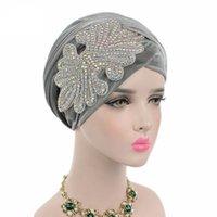 cabeçalhos de jóias venda por atacado-Nova moda lindo Jóias De Cristal Embelezado nigeriano turbante de veludo Extra Longo Cabeça Lenço Cabeça Wraps mulheres hijab 12 Cor do Chapéu