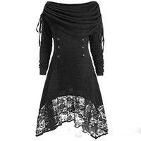ingrosso pizzo nero più il formato-Felpe da donna Gothic Casual Streetwear Plus Size 4XL Slim Pullover Plain Patchwork Lace Felpa donna nera calda