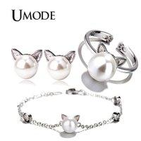 ingrosso anelli di gioielli umode-UMODE Girls Kids Cute Cat Ear Orecchini a lobo anelli regolabili Bracciali a catena Set gioielli Gioielli da donna US0054